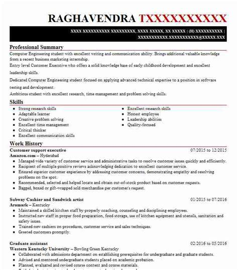 Customer Support Resume by Customer Support Executive Resume Sle Livecareer