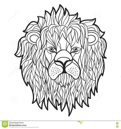 Vector Monochrome Hand Drawn Illustration Of Lion Face