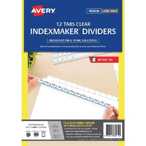 avery a4 indexmaker dividers with 12 tabs white officeworks