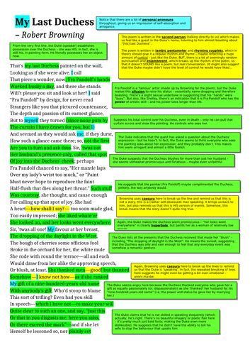 My Last Duchess - Robert Browning - AQA Power and Conflict ...