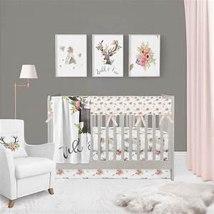 Deer, Floral, Nursery, Bedding, Deer, Girl, Nursery, Deer, Minky