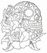 Coloring Sugar Skull Popular sketch template