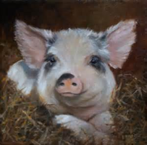 Cute Pig Oil Painting
