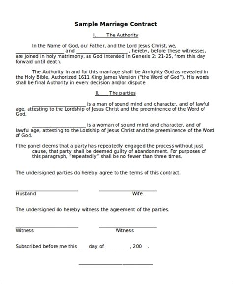 sample marriage contract form   documents