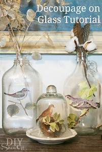 DIY How to Decoupage Glass Bottle - The Inspired Room