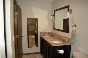 23 nice ideas of glass tile trim bathroom for Vanity backsplash ideas for bathroom