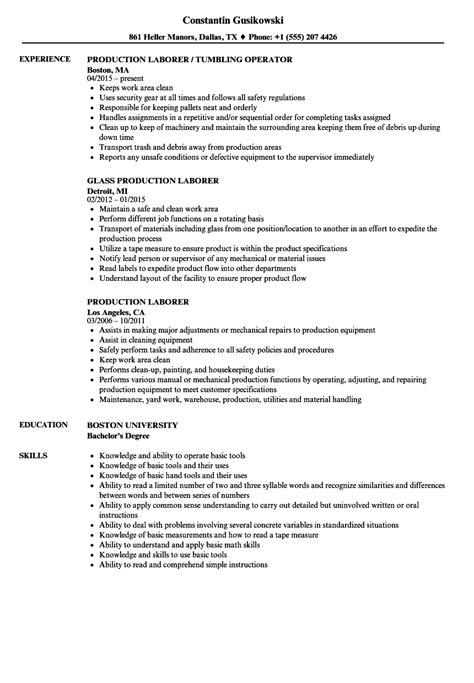 Laborer Resume by Production Laborer Resume Sles Velvet