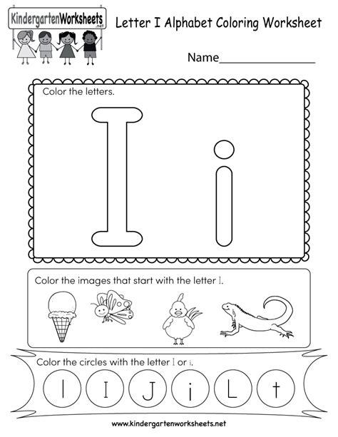 Letter I Coloring Worksheet  Free Kindergarten English Worksheet For Kids