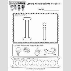 Letter I Coloring Worksheet  Free Kindergarten English
