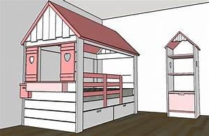Construire Un Lit Cabane : plan lit cabane en bois plan cabane en bois pdf plan plan lit cabane par fabio38 sur l 39 air ~ Melissatoandfro.com Idées de Décoration