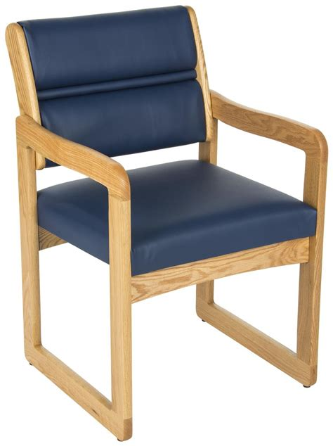 blue waiting area chair wooden with vinyl upholstery