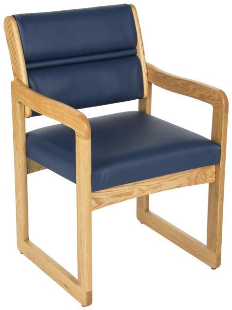 oak waiting room seating blue vinyl wood chairs