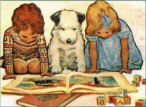 vintage kids with book – orange marmalade