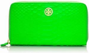 Tory Burch Neon Snake Zip Continental in Green apple