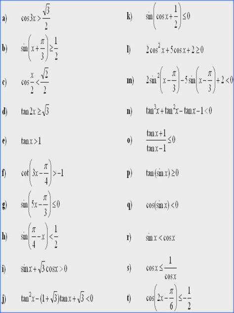 Solving Trig Equations Worksheet Mychaumecom