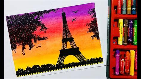 eiffel tower scenery drawing  oil pastels youtube