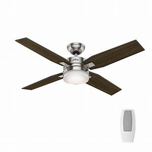 Hunter mercado in indoor brushed nickel ceiling fan with light and universal remote