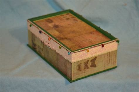 jewelry box mixed media wood box  lace