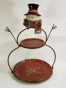 tier metal stoneware plates dessert stand display serving tray holiday snowman ebay