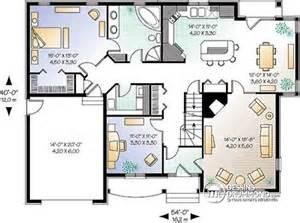 ranch floor plans open concept detail du plan w3443 plans bureaux garage et cuisine