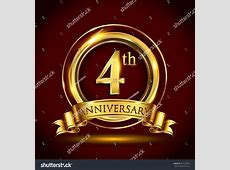 4th Golden Anniversary Logo Four Years Stock Vector