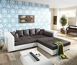 Big Sofa Weiß : big sofa stella 300x140cm weiss grau xxl couch mit hocker und kissen ebay ~ Markanthonyermac.com Haus und Dekorationen