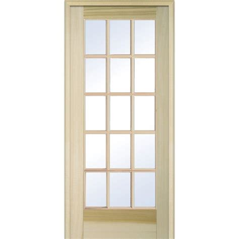 interior glass doors home depot mmi door 31 5 in x 81 75 in classic clear glass 15 lite unfinished poplar wood interior french