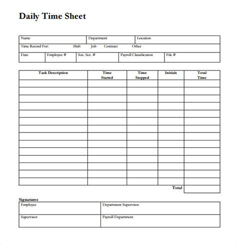 daily timesheet template 24 sle time sheets sle templates