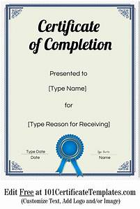 Free Sports Certificates Free Certificate Of Completion Customize Online Then Print