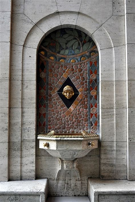 pewabic pottery drinking fountain in the vestibule between