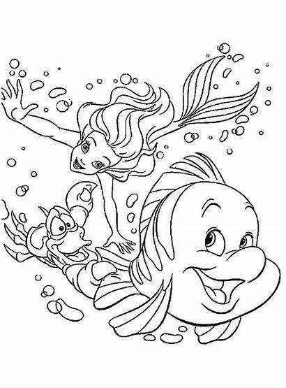 Mermaid Coloring Pages Ariel Printable Disney Cartoon