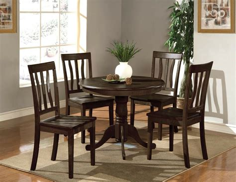 pc dinette kitchen dining set table   wood seat chairs  cappuccino ebay