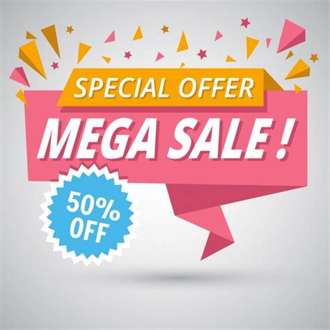 nice origami banner for sales discounts vector free download