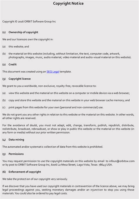 writing  copyright notice guidelines  examples