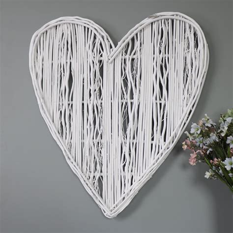 How to create a heart shaped photo wall collage? Large White Wicker Wall Hanging Heart Decoration - Melody Maison®