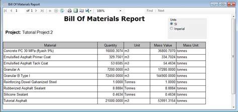 Report - Table - Bill of Materials