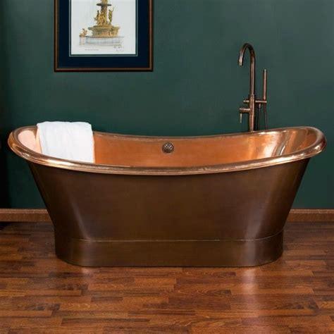 thaine copper double slipper tub polished interior