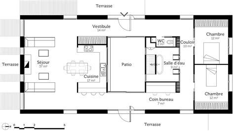plan maison plain pied 2 chambres plan de maison rectangulaire moderne