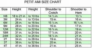 Petit Ami Baby Clothes Sizing Chart