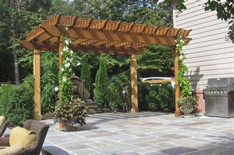 pergola covered patio vine pergola plans woodideas