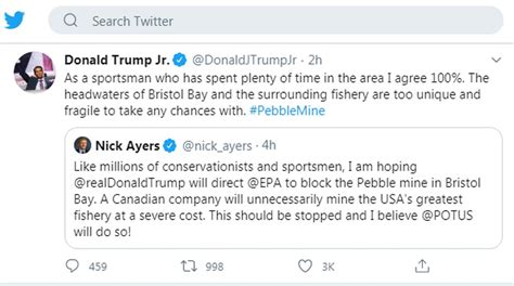 pebble mine trump jr donald project ktuu son opposes tweets briefing asked president gets during