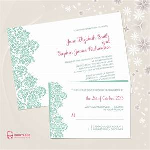 damask border wedding invitation and rsvp free to With borders for wedding invitations free download
