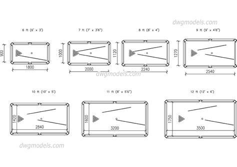 8 pool table dimensions billiard table sizes dwg free cad blocks download