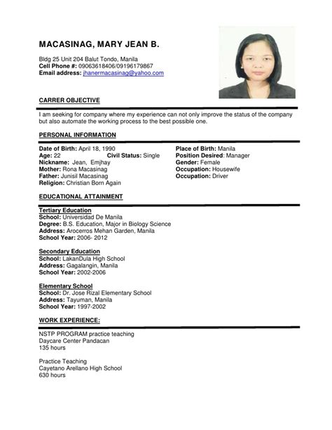 Formal Photo For Resume by Resume Format Sle More Exles
