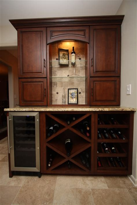 wine cabinet traditional kitchen cleveland