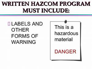 hazardous materials control management training by noaa With hazardous chemical labels must include