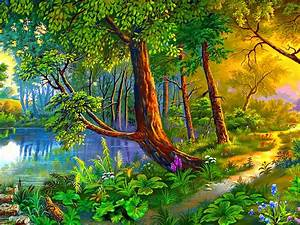 Beautiful, Landscape, Art, Images, Summer, Painting, Forest