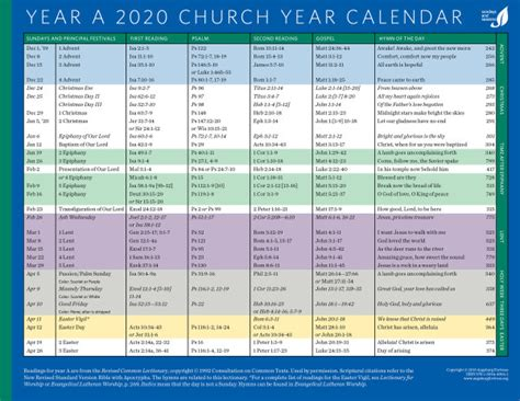 church year calendar year