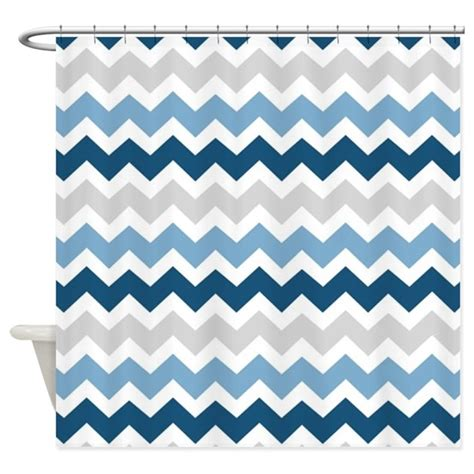 Grey And White Chevron Curtains Canada by Navy Blue Grey White Chevron Shower Curtain By