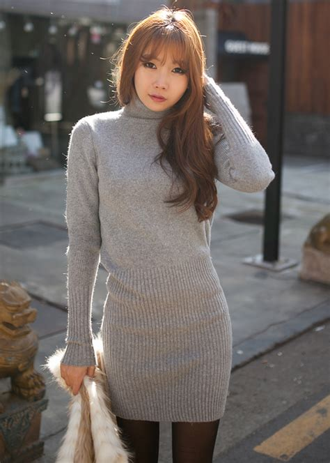 fb turtleneck sweater dress kstylick latest korean